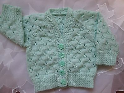 Baby's Light Green  Hand Knitted Lacy V Neck Cardigan