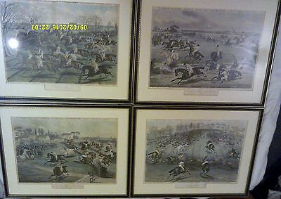 Antique 4 x Prints The Grand Military Steeple Chase Near Newmarket 1856 March 24