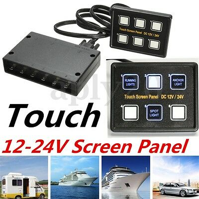 6 Gang LED Back Capacitive Touch Screen Switch Panel  Marine Boat Caravan12V-24V