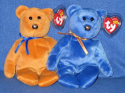 TY PROMISE the BLUE & GOLD BEAR BEANIE BABY SET - NWM EXCLUSIVE - MINT TAGS