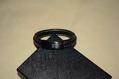 NEW MontBlanc Men's Black Woven Leather with Steel Bracelet without tags