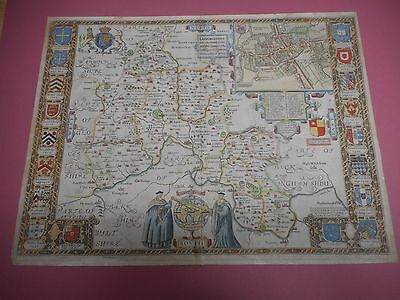 100% Original Large Oxfordshire Map By John Speed C1627 Vgc Hand Coloured