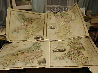 100% Original Large Wales Maps X4 By Greenwood C1834  Original Colour