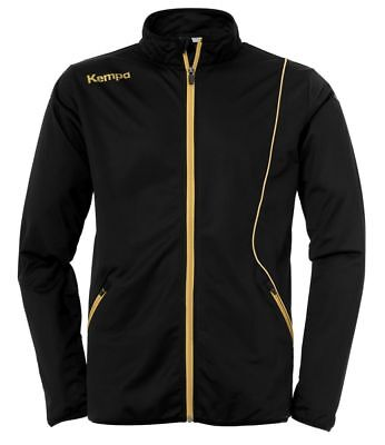 Kempa Kids Curve Classic Sports Training Full Zip Jacket Track Top Black Gold