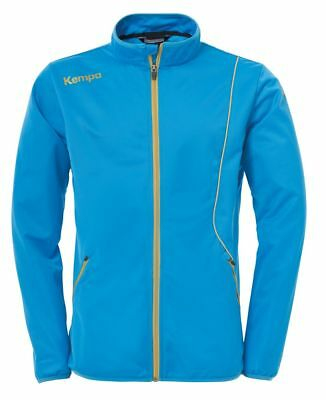 Kempa Kids Curve Classic Sports Training Full Zip Jacket Track Top Blue Gold