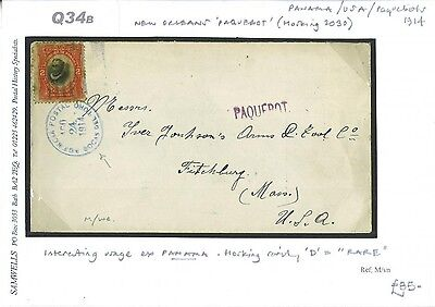 DBQ34b 1914	PANAMA Maritime Mail per New Orleans PAQUEBOT Cover Fitchburg USA