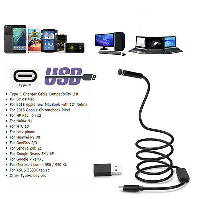 10M Flexible 5.5-8mm 6/8LED USB Type C Endoscope Inspection Camera HD PC Android