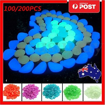 200x Glow in The Dark Stones Pebbles Rock FISH TANK AQUARIUM Garden Road Decor