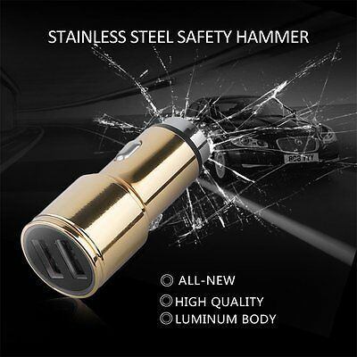 CC-534A Practical Safety Hammer Car Charger Double Metal USB Quick Charge GA