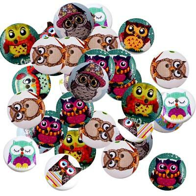 50pcs 20mm Novelty Wooden Painted Owl Buttons 2 Hole Flatback Sewing Craft