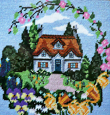 Tapestry kit Twilleys Spring Cottage full colour printed 10hpi canvas & thread