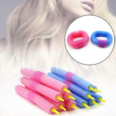 12X Hair Roller Curlers Rubber Rod Soft Foam Twister Bendy Tool  Styling NEW T8`