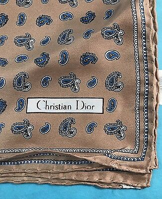 Vintage Christian Dior 100% Silk Italy Hand Rolled Scarf Pocket Square Paisley