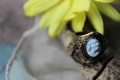 Cameo Ring Vintage Golden Gorgeous for School Fall Gifts Victorian Ring Sale