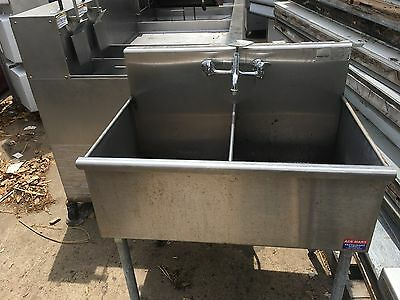 "USED 41"" 2 Compartment Stainless Steel Commercial Sink WO  Drainboards WITH SINK"