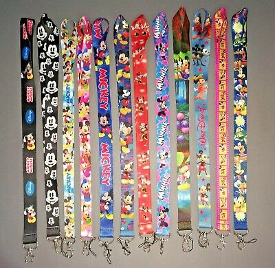 Mickey & Minnie Mouse Walt Disney Lanyard Neck Strap ID Badge Key Phone Whistle