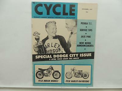 November 1957 CYCLE Magazine Peoria TT Jack Pine Indian Harley-Davidson L8701