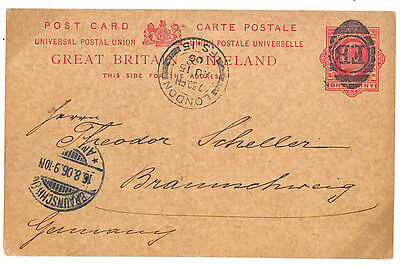 EE142 1906 GB CANCELS Superb Oval F(oreign) B(ranch) Stationery Card Germany
