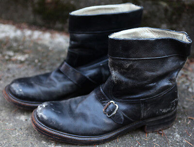 Vintage 1950's? Engineer Boots Black Leather Motorcycle Horsehide? Folded Top