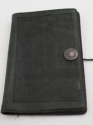 Black Leather Book Cover Notebook Celtic Embossed Handmade Emerald Triangle(E2L)