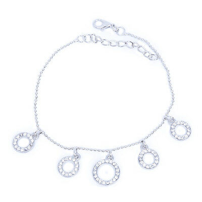 Silver Anklet Foot Chain Ankle Bracelet 5 Rhinestone Circles S4G9