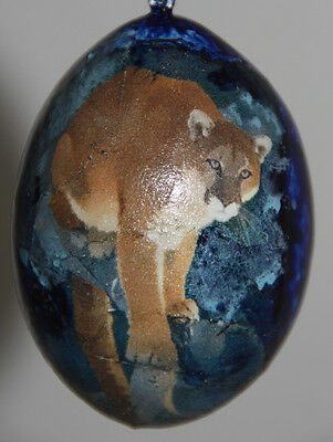 gourd Easter egg, yard art or Christmas ornament with mountain lion, cougar