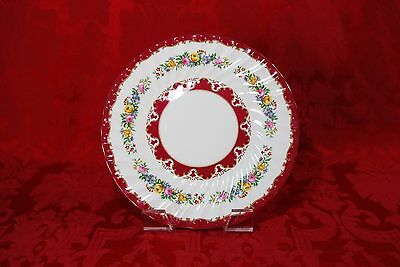 Crown Staffordshire England LYRIC TUNIS Red Floral Dinner Plate 10 1/2""