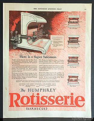 1926 Humphrey Electric Radiantfire Rotisserie Barbecue Steak Hot Dogs Chicken Ad