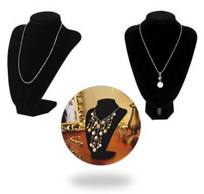 Black Velvet Jewelry Bust Pendant Necklace Showcase Display Holder Stand Tower
