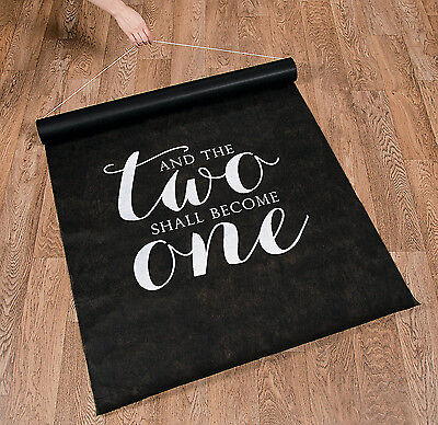 100 FT Black And The TWO SHALL BECOME ONE Wedding AISLE RUNNER Long Bridal