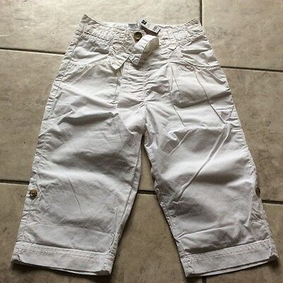 bnwt girls white cotton 3/4 lenght crop trousers shorts 6-7-8 yrs