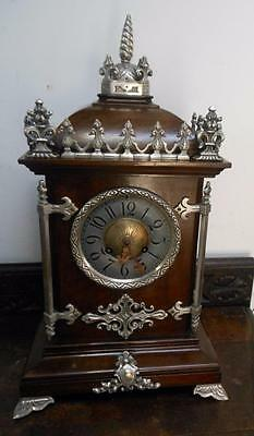 gothic styled mahogany french striking bracket clock c1900s