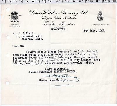 1963 Trowbridge Ushers Wiltshire Brewery Letter / Billhead - Taunton Somerset