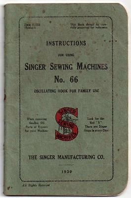 1930 SINGER 66 Sewing Machine Manual - Complete 32 Pages