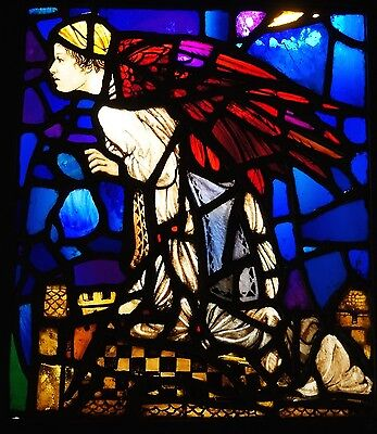 "Antique Stained Glass Window Pre Raphaelite stunning colours 18 1/2"" x 15 1/2"""