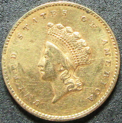 1855 $1 Type 2 Indian Princess Head One Dollar Gold Coin