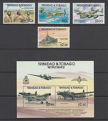 Trinidad & Tobago Sc 534-538 MNH. 1991 World War II incl Souvenir Sheet