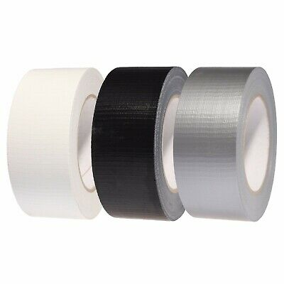 "Duck Duct Gaffa Gaffer Cloth Waterproof White/Black/Silver Tape 2"" 48MM X 50M"