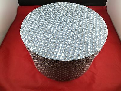 Beautiful Collectible Handmade Wallpaper Hat Box - Blue & White - Stamp In Lid