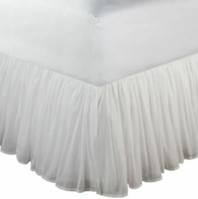 "*Greenland Home Fashions Voile 15"" Bedskirt TWIN White Cotton New"