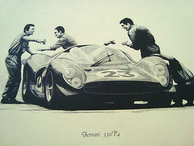 "Original FERRARI 330 P4 RACE CAR 16""X12"" LITHO ART PRINT John W. Barnes Jr. 1971"