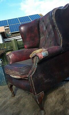 Genuine old Chesterfield chair for restoration (large single seater) leather