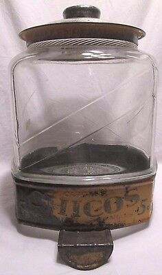 Look! Large 1920's Vintage Glass Curtiss Chicos 5c Peanut Jar with counter clip