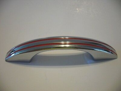 Vintage 1950's CHROME DRAWER Cabinet DOOR Pull RED Lines Handle National Lock