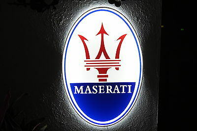 Maserati 3D SIGN LIGHTED NEON MOTORCYCLE CAR SPORT GARAGE RACING