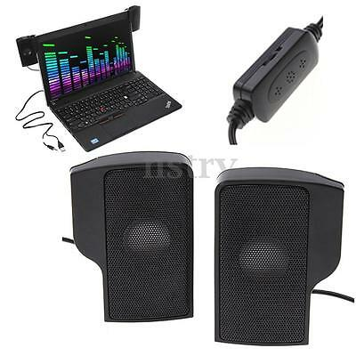 2x Clip On Mini USB 3.5mm Audio Portable Stereo Speaker For Laptop PC Computer