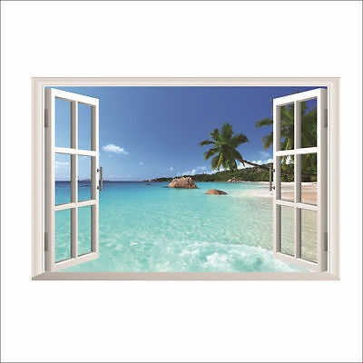 3D Beach Sun Floor Wall Sticker Removable Bedroom Decor Sea Vinyl Mural Decal