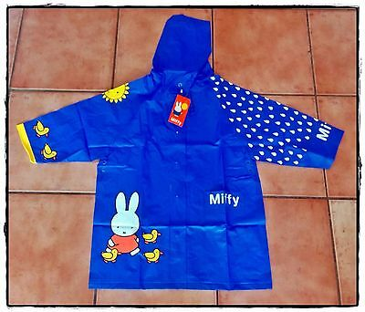 Miffy Childrens Kids Girls Boys Blue RainCoat Rain Coat Dick Bruna Sz: 4-6
