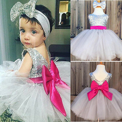 UK Baby Kids Girls Bridesmaid Wedding Party Pageant Princess Tutu Lace Dresses
