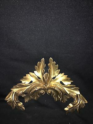 "1880's 13 3/4"" Carved Wood Gold Gilded Pediment"